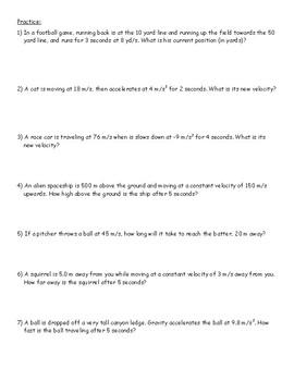 Kinematics Formulas - Intro Notes and Practice