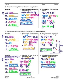 Kinematics: Free Fall Calculations
