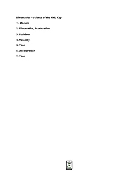 Kinematics-Science of the NFL QR Code Video Worksheet