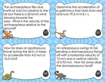 Kinematics Task Cards - FREE Sample of 8 Dinosaur Themed Cards to Teach Physics