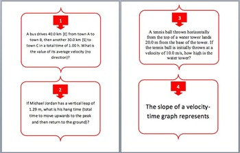 Kinematics - Task Cards and UNIQUE Activity - Motion