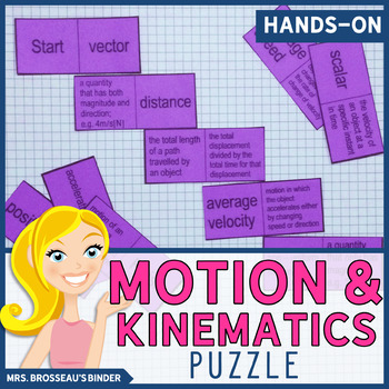 Kinematics Terms Domino Puzzle - Physics Vocabulary