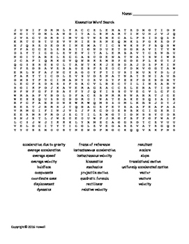 Kinematics Vocabulary Word Search for Physics