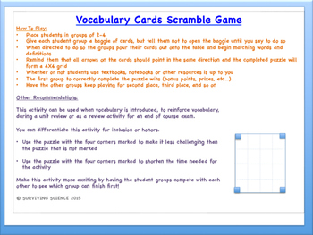 Kinematics in One Dimension: Physics Vocabulary Scramble Game