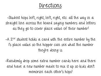 Kinesthetic Place Value Hopscotch Game