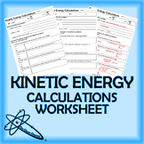 Kinetic Energy Calculations Worksheet