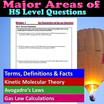 Kinetic Molecular Theory & Avogadro's Law  - Worksheets & Practice Questions