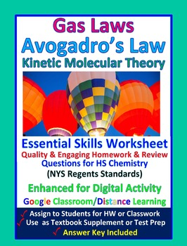 Kinetic Molecular Theory & Avogadro's Law  - Worksheets &