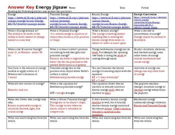 Kinetic/ Potential Energy Jigsaw Worksheet