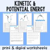 Kinetic & Potential Energy - Practice Worksheets - Print &