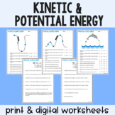 Kinetic & Potential Energy - Practice Worksheets - Print &