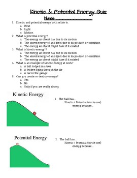 Kinetic And Potential Energy Quiz Worksheets & Teaching ...