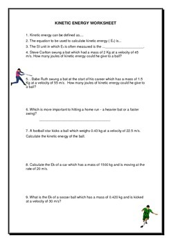 Kinetic & Potential Energy worksheet