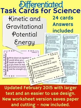 Kinetic and Gravitational Potential Energy Task Cards