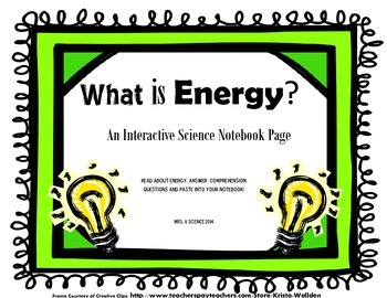 Kinetic and Potential Energy: Interactive Science Notebook Page