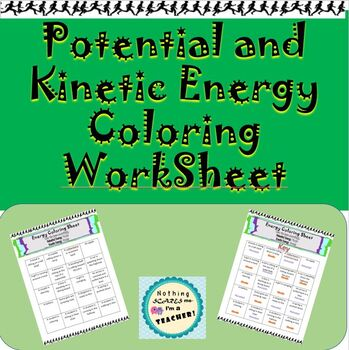 Kinetic and Potential Energy Printable Coloring Worksheet