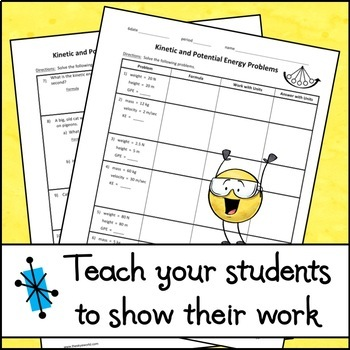 Kinetic and Potential Energy Problems - Step by Step Worksheet | TpT