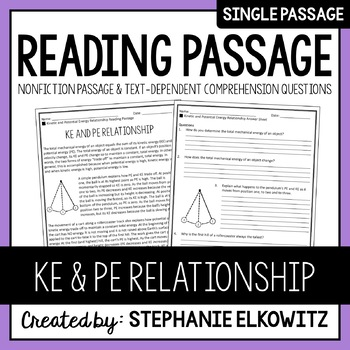 Kinetic and Potential Energy Relationship Reading Passage