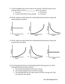Kinetic and Potential Energy Review Sheets and Quiz Based on NGSS