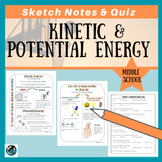 Kinetic and Potential Energy Sketch Notes, Quiz, & PPT