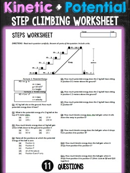 Kinetic and Potential Energy Step Climbing Worksheet by Mrs Lyons