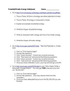 Kinetic and Potential Energy Webquest