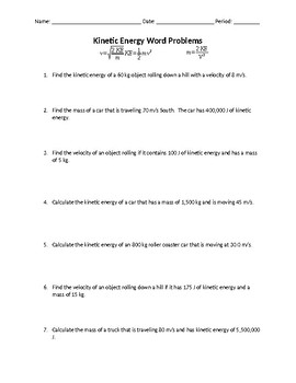 Kinetic And Potential Energy Problems Worksheets & Teaching ...