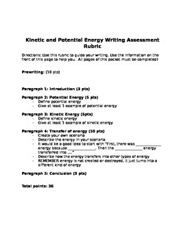 Kinetic and Potential Energy Writing Assessment