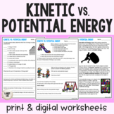 Kinetic vs. Potential Energy - Guided Practice - PDF & Dig