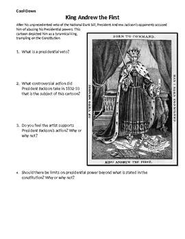King Andrew Jackson Political Cartoon Exit Ticket Do Now
