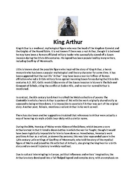 King Arthur Biography Article and Assignment Worksheet