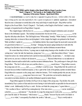King Arthur Book 2 Ch 3 Recurrent Themes & Summary Fill-in & KEY