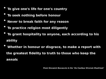 King Arthur Code of Chivalry