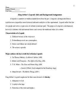 King Arthur: Legend Info Sheet & Background Assignment & KEY