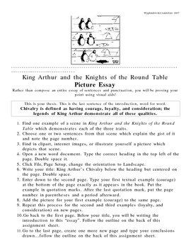 king arthur picture essay by mrs wy teachers pay teachers king arthur picture essay