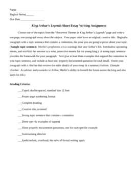 King Arthur-Recurrent Themes and Essay