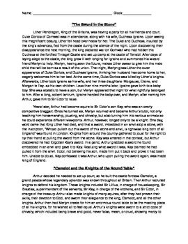 King Arthur Shortened Story Excerpts & Reading Questions