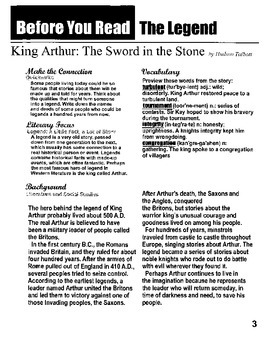 """King Arthur"" adapted Middle School Version-consumable text"