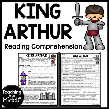 King Arthur Reading Comprehension Worksheet, Legend, Freak the Mighty, Knights