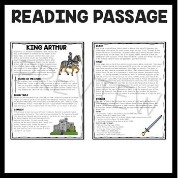 King Arthur Reading Comprehension Worksheet, Legend, Freak the Mighty, Knights