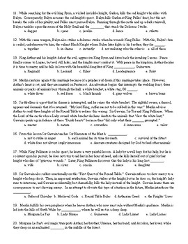 King Arthur's Legends: Multiple Choice Test and KEY (50 q)