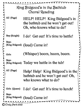 King Bidgood S In The Bathtub Choral Reading Plus By Cindy