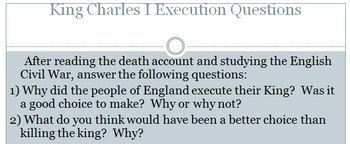 King Charles I Execution Account and Questions