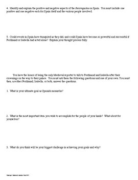 King Ferdinand and Queen Isabella Interview Review Activity