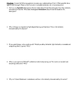 King Henry IV, Part 1 Act 4 Multiple Choice and Short Answer Quiz