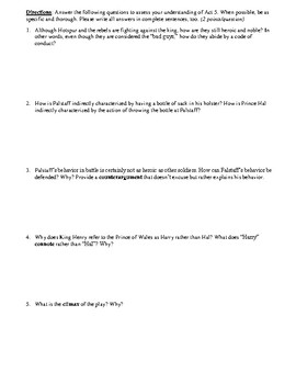 King Henry IV, Part 1 Act 5 Multiple Choice and Short Answer Quiz