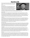 King Henry VIII Comprehension Crossword