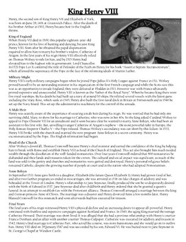 King Henry VIII Comprehension Crossword