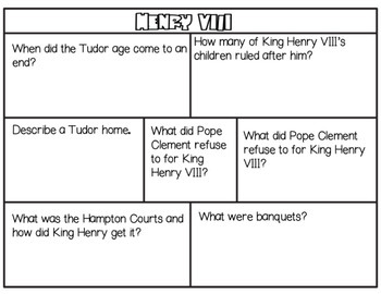 King Henry VIII Research packet