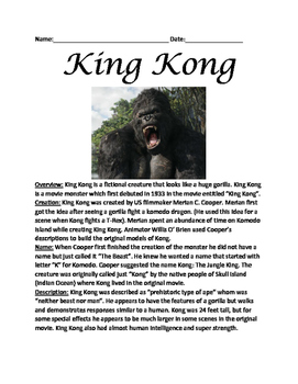 King Kong - Lesson article facts information questions word search